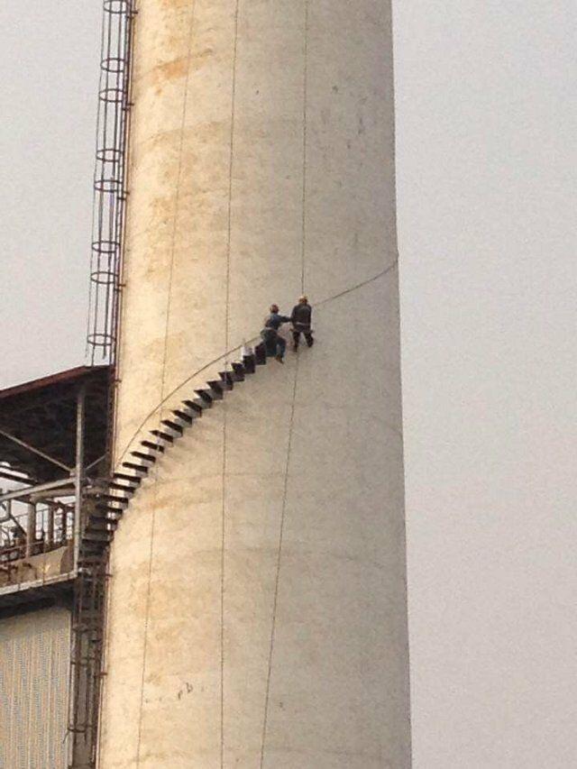 海阳水泥烟囱安装检测平台公司——本地有爬梯安装施工队吗